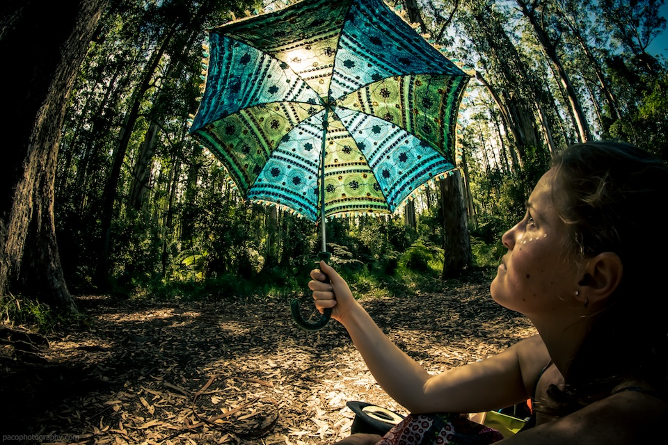 Amazing shot of Elisse holding an embroidered umbrella with the sun shining through it, in Sherbrook Forest