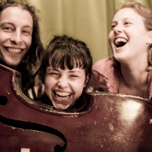 The three of us posing behind Frank's double bass - thanks to ShotByStitch for the photo!